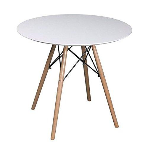 Snug Repro Scandi Ronde Table de Salle à Manger en Bois Blanc avec des Jambes en hêtre