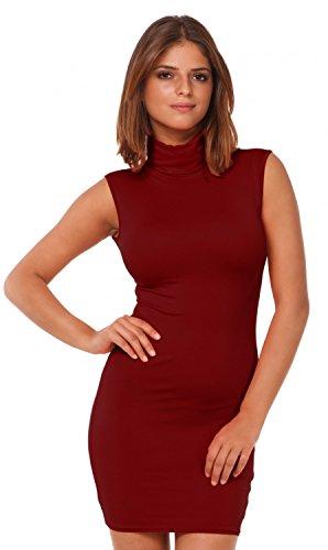 Glamour Empire. Donna abito senza maniche mini vestito collo alto vestitino. 462 Cremisi