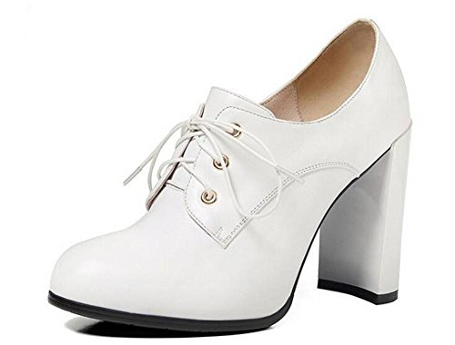 Beauqueen Pumps Chunky High Heel Round-Toe Oxford Lace-Up 2017 Frühling Sommer Mode Casual Büro Schuhe Europa Größe 34-39 White