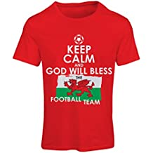 Frauen T-Shirt Keep Calm and God will Bless the Football team of Wales