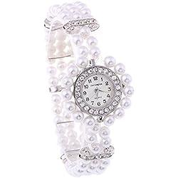 """White Metal Faux Pearl Glass Beads Bracelet Bangle Watch Lady 0.24"""""""