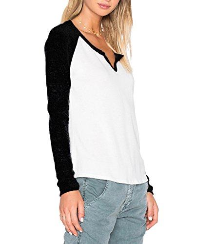 ZJCTUO Damen Langarm Rundhalsausschnitt Kontrast Shirt T-Shirt Blusen Top Schwarz