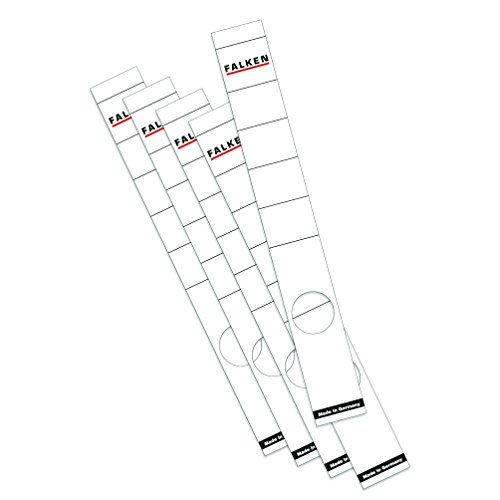 Falken Ordner-Rückenschild Etiketten 36 x 290 mm selbstklebend für 5 cm schmale Ordner 10er Pack weiß