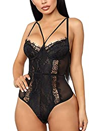 Evelife Mujer Conjunto De Mono Lencería De Sexy Encaje Transparente con Body Interior Tirantes Body Tanga v Neck Babydoll Teddy