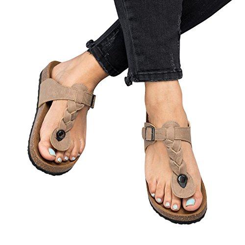 Gemijacka Damen Flip Flops Schuhe Sandalen Schnalle Peep-Toe Slip Sommer Strand Flache (Flats Shoes Damen Peep-toe)