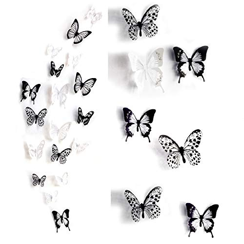 WandSticker4U- 36er-Set 3D Schmetterlinge mit Glitzern SCHWARZ WEIß | Wand Dekoration Fenster Möbel Basteln Hochzeit Tischdeko Butterfly | Deko für Wohnzimmer Schlafzimmer Kinderzimmer Kinder Mädchen