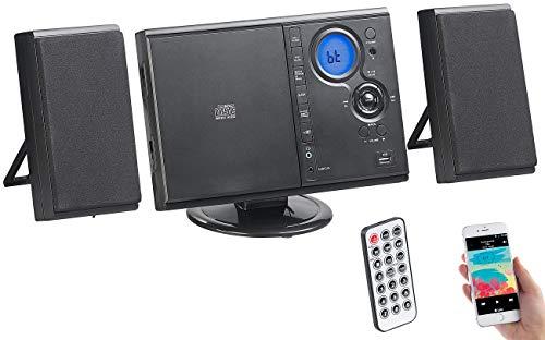auvisio CD Spieler: Vertikale Stereo-Kompaktanlage mit Bluetooth, FM, CD, MP3 & AUX, 10 W (HiFi-Stereoanlage)