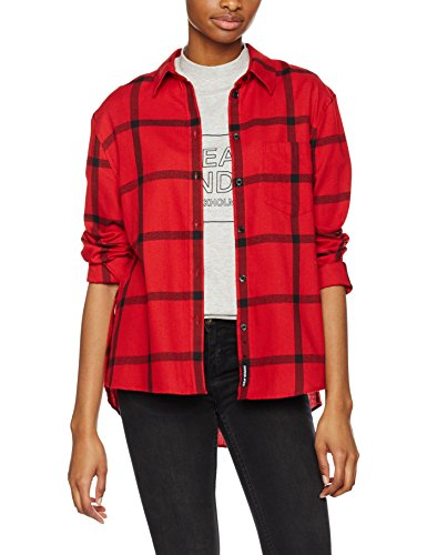 Cheap Monday Tension Check Shirt Windowpane, Camicia Donna Rosso (Deep red)