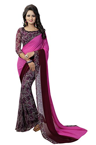 J B Fashion Women's Georgette purple Saree With Blouse Piece