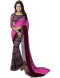 Kanchan KSH Trendz Women's Soft Georgette Keri Print Saree With Blouse Piece (Free Size, Purple, KSH TRUMP-1)