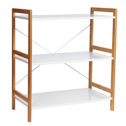 WOLTU RG9251ws-c Natural Bamboo Storage Shelf Multipurpose Display Rack Freestanding