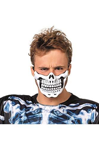 en-Halbmaske Totenkopf Skull Skelett Voodoo Grusel Horror Scary HochwertigEinheitsgröße Weiß ()