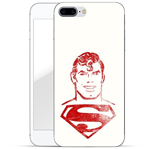 finoo | iPhone 8 Plus Handy-Tasche Schutzhülle | ultra leichte transparente Handyhülle in harter Ausführung | kratzfeste stylische Hard Schale mit Motiv Cover Case |Superman dad black Superman face red white
