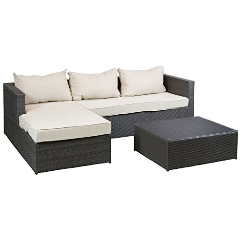 3 piece sofa with table garden rattan furniture - Sofas en esquina ...