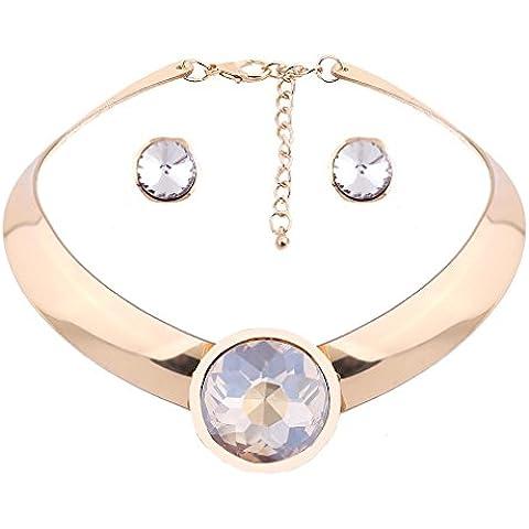 YAZILIND de oro chapado mujeres nupcial collar Cubic Zirconia Crystal Gargantilla conjunto de joyer¨ªa de los pendientes del