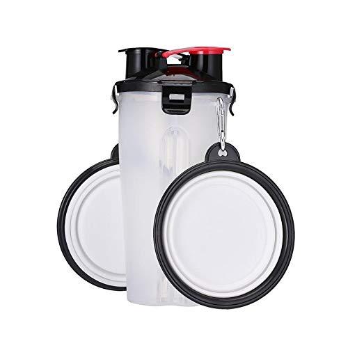 TWOBEE Tragbare 2 in 1 Tiernahrung Wasser Lebensmittelbehälter mit 2 Falten Silikon Pet Schalen Outdoor Travel Dog Feeder Cup (Color : White) (Feeder-schalen Dog)