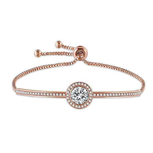 GEORGE · SMITH Classic Design Adjustable Rose Gold Bangle Bracelet for Women with Swarovski Crystals Ideal Anniversary Birthday Gifts for Women -Jewellery Box Included Womens Gift