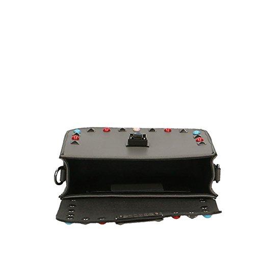 Chicca Borse Clutch Borsetta Borsa a Spalla da Donna con Tracolla in Vera Pelle Made in Italy - 18x15x7 Cm Grigio