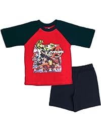 Kids Boys Pyjamas Avengers Assemble Short PJS Set Superhero Iron Man Hulk Thor Captain America Size UK 3 To 10 Years
