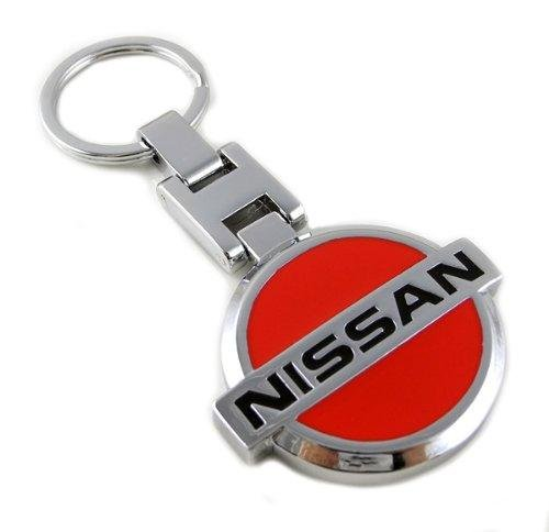 gump-quality-nissan-emblem-keyring-chrome-red-solid-metal-heavy-duty