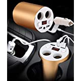CASON (DEVICE OF C) -2-Socket Cigarette Lighter Car Digital Cigarette Lighters Socket Splitter 2 USB Fast Charging Auto Cup Charger Power Adapter With Voltage Display For All Phones,Tablet (Gold)
