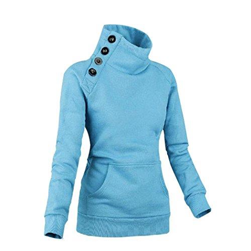OverDose El nuevo suéter largo del suéter del puente de la camiseta de la manga de las nuevas mujeres remata la capa (S, Azul)