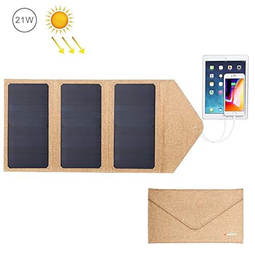 LUCKYGBY 21W tragbar Solar Ladegerät 2-Port USB 3 wasserdichte Solarpanel mit Reißverschluss zum Schutz - für Wiederaufladen USB-Geräte - iPhone Android GoPro usw