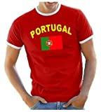 Coole-Fun-T-Shirts Herren T-Shirt Portugal Ringer, rot, XL, 10838_Portugal_HERI_GR.XL