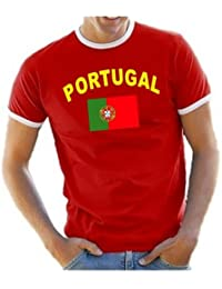 Coole-Fun-T-Shirts Herren T-Shirt Portugal Ringer