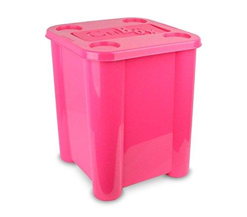 355312 Caja de plástico rigido para juguetes con tapa 29 x 33 x 33cm (ROSA)