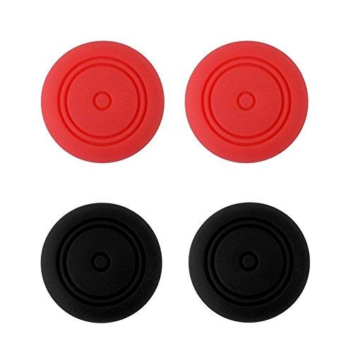 Nintendo Switch Joy-Con pulgar grips - Stillshine 4pcs silicona pulgar grip Stick Key Cover Protector Joystick tapas para Nintendo Switch Joy-Con NS NX controlador (2x Rojo 2x Negro)