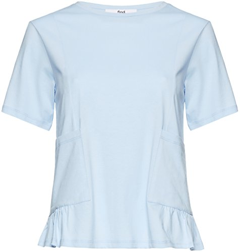 FIND Damen Kurzarmshirt Pocket Detail Blau (Sky Blue)
