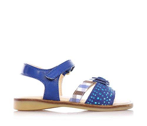 FLORENS - Sandalo blu in camoscio e pelle, con chiusura a strappo, fiocchetto decorativo con strass azzurri sulla fascia anteriore, Bambina, Ragazza-22