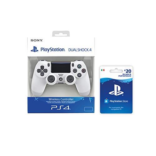 Foto PlayStation 4 - Dualshock 4 Controller Wireless V2, Bianco + PSN Card 20 € [Esclusiva Amazon], Standard + Card
