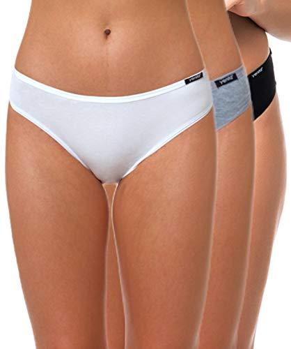 Yenita 3er Set Damen Basic Unterwäsche-Collection, Bikini-Slip, Gemischt (Schwarz, Weiss, Grau) Gr. S (Mädchen Slips Für Kleider)
