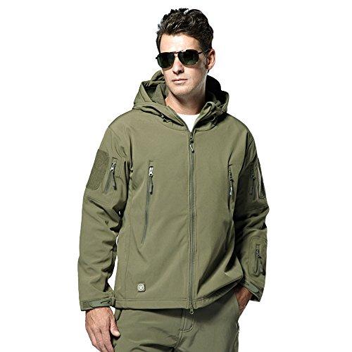 Webetop giacche uomo shark skin Tactical softshell giacca impermeabile per lo sport esterno, 9 colori, 5 formati, Verde L Taglia