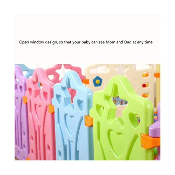 LIUFS-Playpens Game Fence Indoor Fence Crawling Mat Home Children Fence Safety Fence Toddler Toys (color : Multi-colored, Size : 12+2 fence) LIUFS-Playpens - The fence is specially designed with a rubber base underneath, which can be firmly fixed to the floor and will not be pushed or towed by children. - Non-toxic, non-circulating high density polyethylene material without any odor. Over the years, molding technology has made the structure more durable and durable. Any form of manual deburring can prevent your baby from getting hurt. - The height of the fence is long enough to stand and walk, and each set has different game toys for children to play. 4