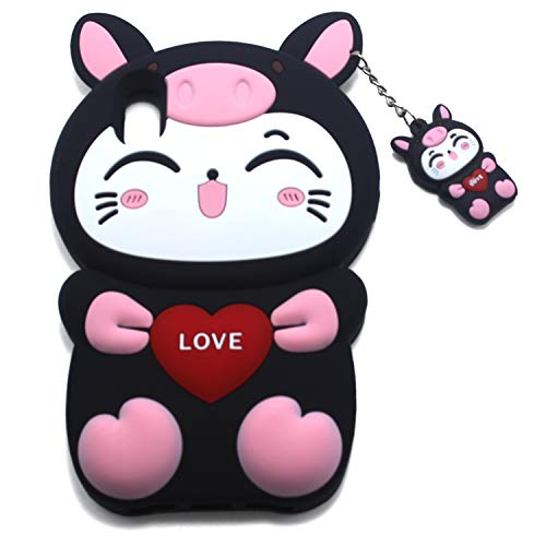 Xzihao Schutzhülle für iPhone Cartoon-Design, niedliche Tiere, Schwarze Katze, strapazierfähig, weiches Silikon, iPhone 6 Plus/6s Plus/7 Plus/8 Plus, 1