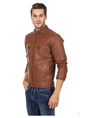 Leather Retail Men's Faux Leather Jacket(Lr0182_Brown_X-Large)