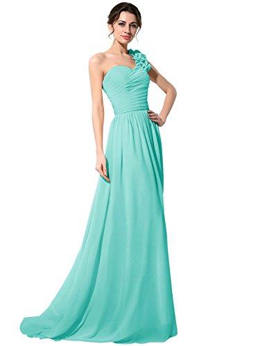 Sarahbridal Damen Ein-Schulter Abendkleid Brautjungfernkleid Lang Ballkleid Festkleid SSD126 Türkis...