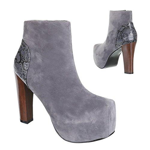Damen Schuhe, B751H-KB, HIGH HEELS ANKLE BOOTS STIEFELETTEN Grau