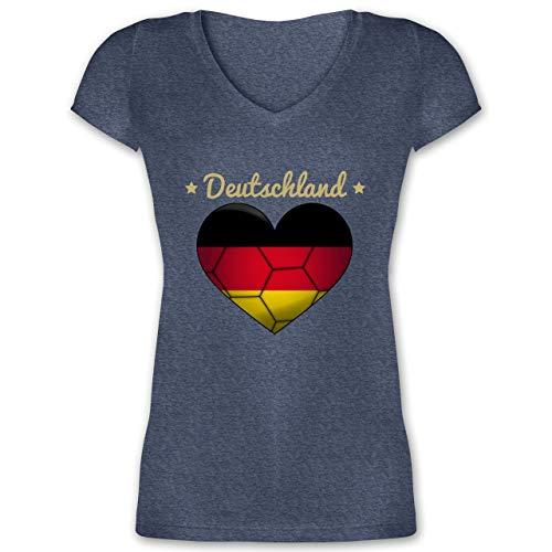 Handball WM 2019 - Handballherz Deutschland - S - Dunkelblau meliert - XO1525 - Damen T-Shirt mit V-Ausschnitt
