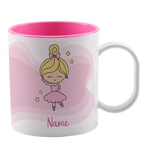 Striefchen® Bruchfeste Kindertasse mit Namen aus Kunststoff (Melamin) in Rosa mit Motivauswahl Ballerina