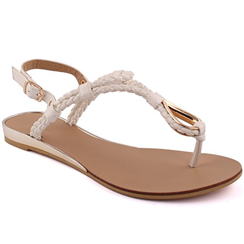 Unze New Women 'Conrad' Braided Beach Party Rejoindre Carnival Casual Sandales plates chaussures Taille UK 3-8 Blanc