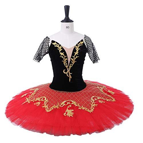 QSEFT Erwachsene Schwarze Professionelle Ballett-Tutu-Frauen-Rot Die -