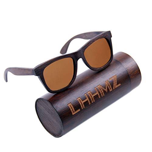 Tan Bambus (LHHMZ Polarisierte Sonnenbrille für Männer und Frauen Vintage handgefertigte leichte Hölzern Brillen Draussen Verspiegelte Bambus Sonnenbrille mit Fall)