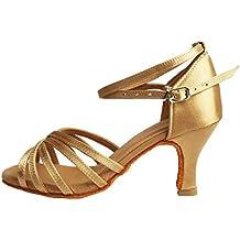 77f2f2ab4 VASHCAME-Zapatos de Baile Latino de Tacón Alto Medio para Mujer