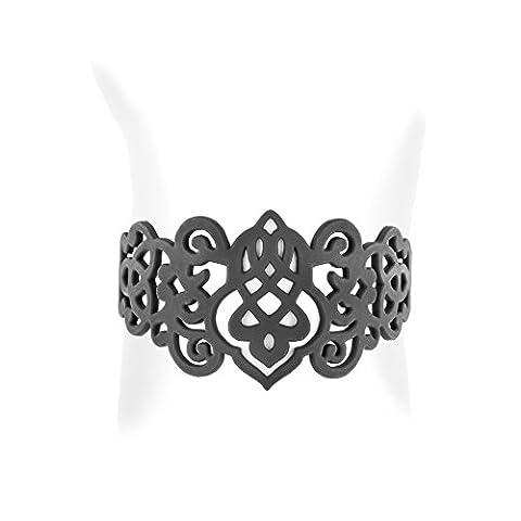 Bracelet Blue Pearls - Bracelet Arabesque en Silicone Noir effet Tatouage