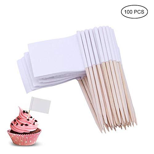Teepao 100 Stück blanko Zahnstocherfahnen Käsemarker, weiße Flaggen, Kennzeichnung für Party, Kuchen, Lebensmittel, Käseplatte und Gewürzgläser, Einmachglas, Glasflaschen weiß