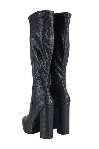 Jeffrey Campbell Bedelia KH Shoes Boots Black - Stivali Neri In Pelle Black